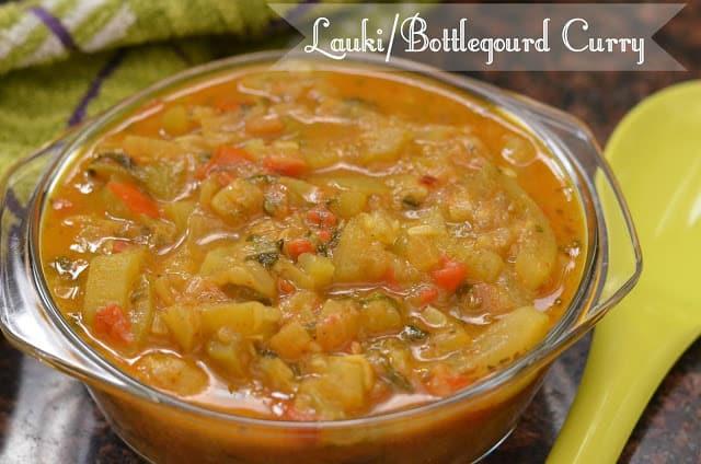 close up click of the lauki tamatar ki sabji