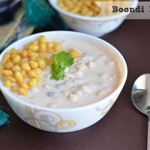 Boondi raita or boondi in curd is very easy to make and a default raita in North Indian kitchen. Having only two ingredients curd & boondi this raita goes very well with biryani or any rice dish. At the same time, it is also a great accompaniment with stuffed parathas.