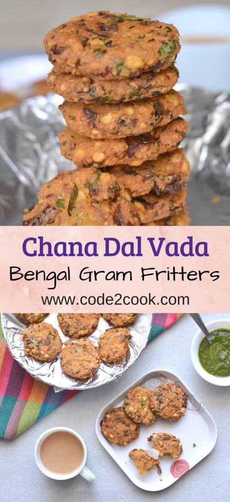 Chana dal vada or masala vada is a south indian tea time snack prepared using skinned bengal gram mixed with few spices. These are crunchy in texture and deep fried.