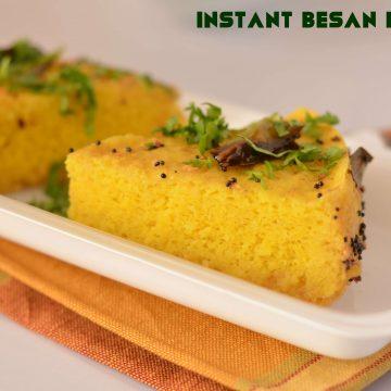 Instant besan dhokla is prepared with gram flour and yogurt batter using Eno fruit salt.