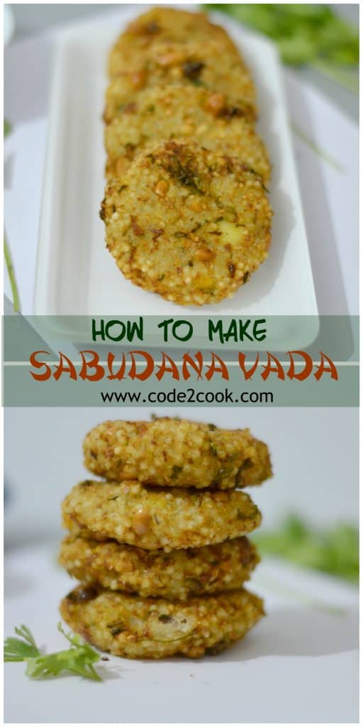 Sabudana vada usually served in fasting and festival season in India. These vadas are a preferred item during fasting, especially in Navratra. In Maharashtra, this is specially served at breakfast or snack time. Sabudana vada is also a very easy and quick snack for kids tiffin box, either pack for lunch or in snack time. www.code2cook.com