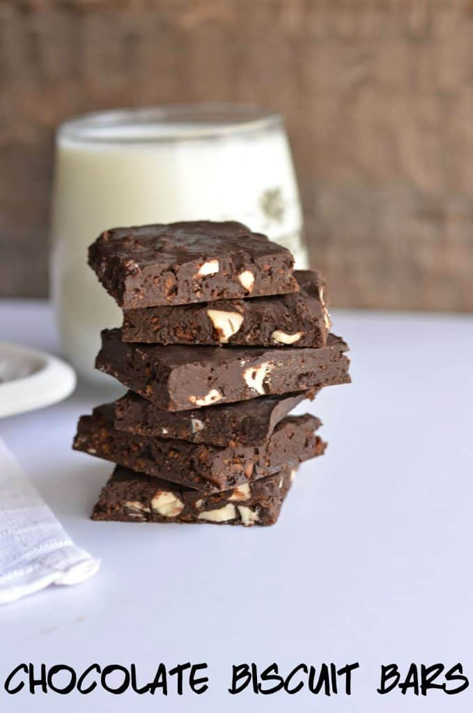 Today I am sharing yet another no-bake recipe Chocolate biscuit bars. Chocolate biscuit bars are made with leftover Brittania bourbon biscuit, nuts, and chocolate. Very easy to make, just whisking all ingredients and set the mixture in the fridge for few minutes. These no-bake chocolate biscuit barsmade their way to my kid's tummy in just a few minutes.