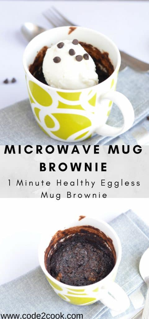 Microwave mug brownie is very simple and quick process to satiate your cravings for something sweet. A mug brownie or cake has everything like a normal brownie or cake only difference is the quantity which is sufficient enough to bake in a mug. Microwave mug brownie is very handy to prepare in few minutes including preparation. www.code2cook.com