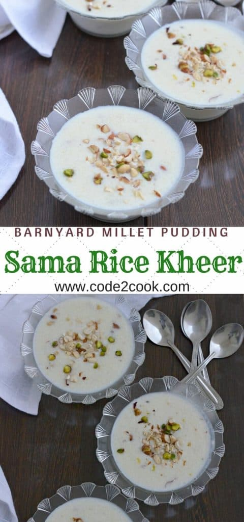 Sama rice kheer is usually prepared during fasting days, especially in Navratri. Mixing milk, sama rice, and sugar, cooked on medium heat and flavored with either cardamom or saffron, this sama rice kheer is tasty and very healthy.
