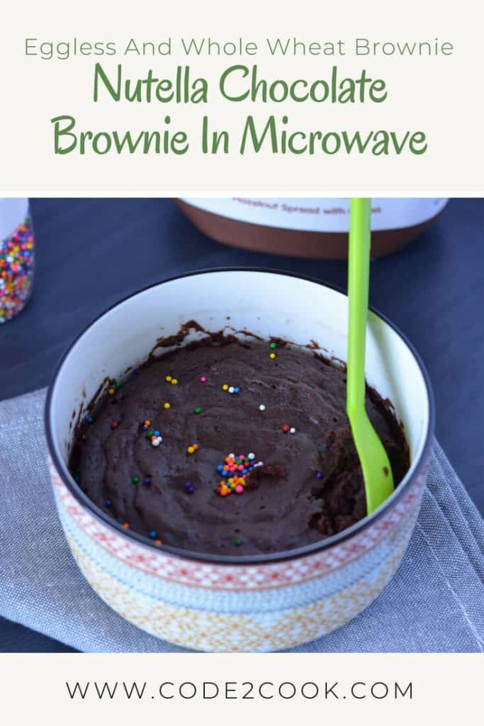 Today I am sharing eggless Nutella Chocolate brownie using whole wheat flour baked in a microwave for two. It is soft, moist, and so delicious with chocolaty Nutella. Replacing normal sugar with coconut sugar just to make it on the healthier side.