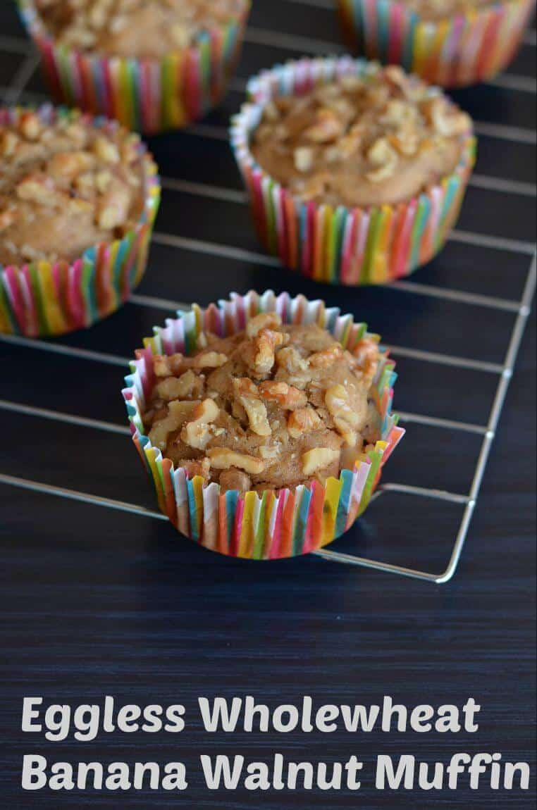 These banana muffins are made of whole wheat flour and eggless. Soft and moist, few melted choco chips inside and outside you can hear crunchy walnuts sound. Eggless whole wheat banana walnut muffin is very easy and gets ready in just 20 minutes.