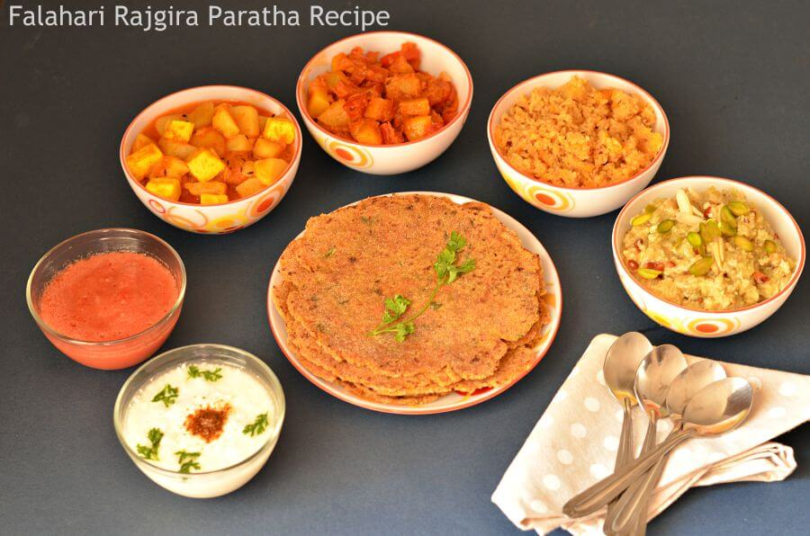 Rajgira paratha is served with lots many other food items during Indian Navratri festival