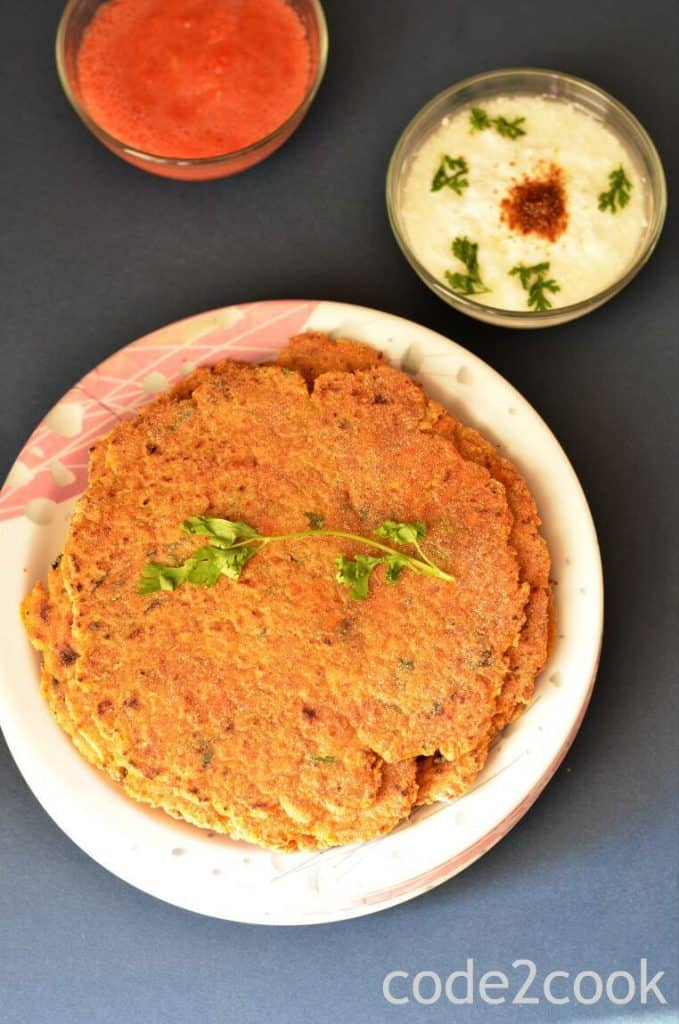 rajgira paratha is served on white plate. Coriander leave are kept over it.