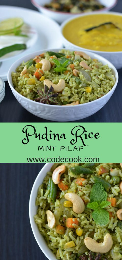 Pudina pulao or mint rice recipe is a simple way to use leftover rice. This pudina pulao can be served either in lunch or dinner time accompanied with raita.
