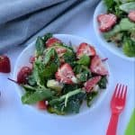 This strawberry avocado spinach salad packed with healthy fats and loads of nutrients. With juicy strawberries, crunchy nuts, tangy feta cheese and with greens your healthy summer salad is ready.