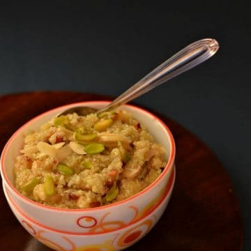 Lauki ka halwa is an Indian sweet made during festivals and in the winter season.Preparation of lauki ka halwa is similar to gajar ka halwa. Grated bottle gourd in milk, flavored with cardamom and a handful of dry fruits makes it rich and a filling dish in Navratri fasting time.
