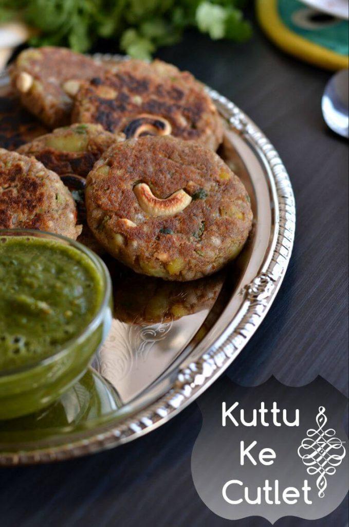 close up click of Kuttu ki Tikki or buckwheat cutlet