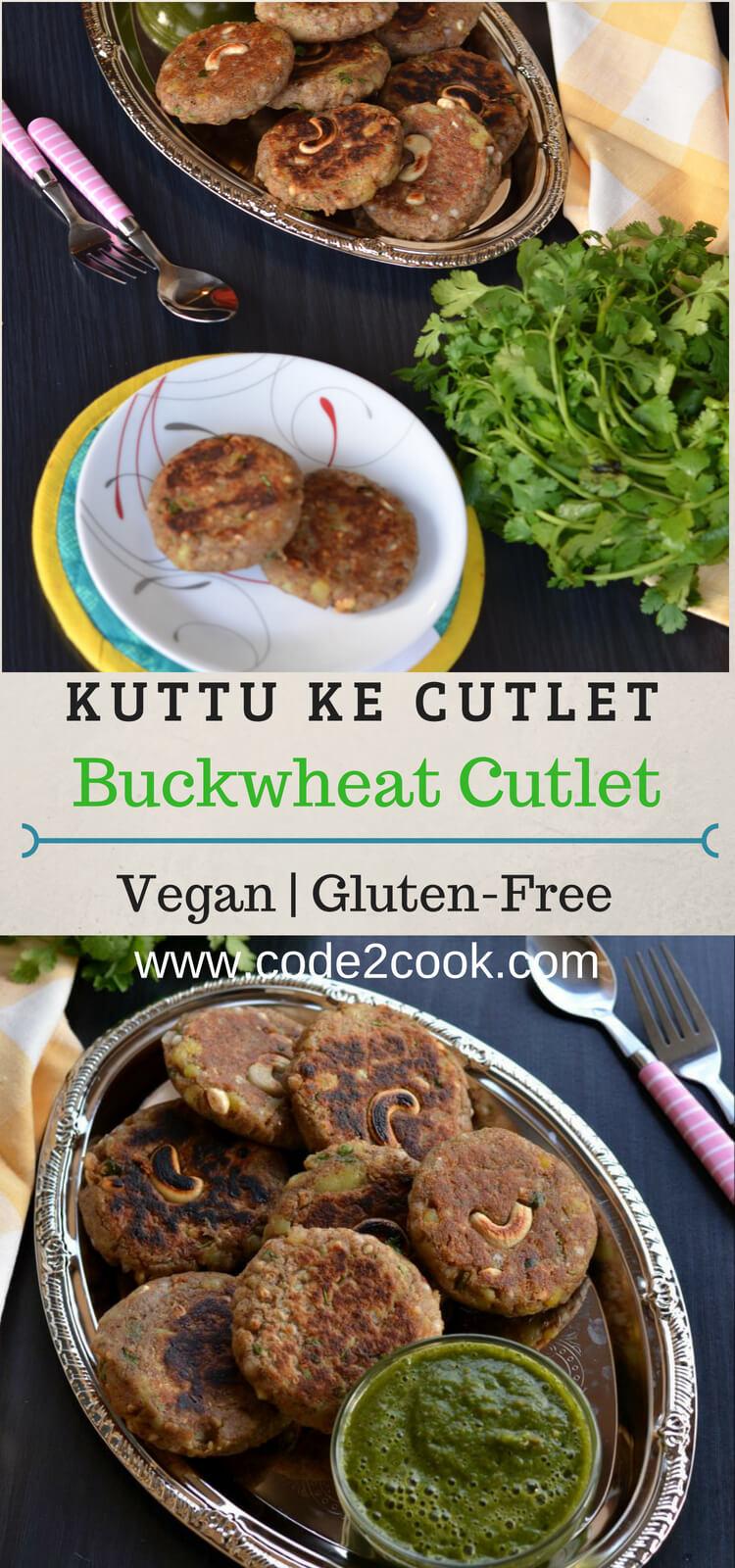 pinterest image of Kuttu ki Tikki or buckwheat cutlet