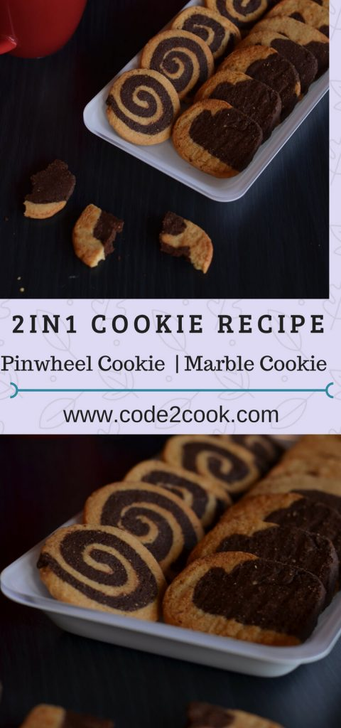 Pinwheel cookies and marble cookies are all-time favorite cookies,loved by all age groups, eggless and I made them using wheat flour. The basic dough recipe is the same for making both cookies that is the reason named this post as 2in1 dough recipe.