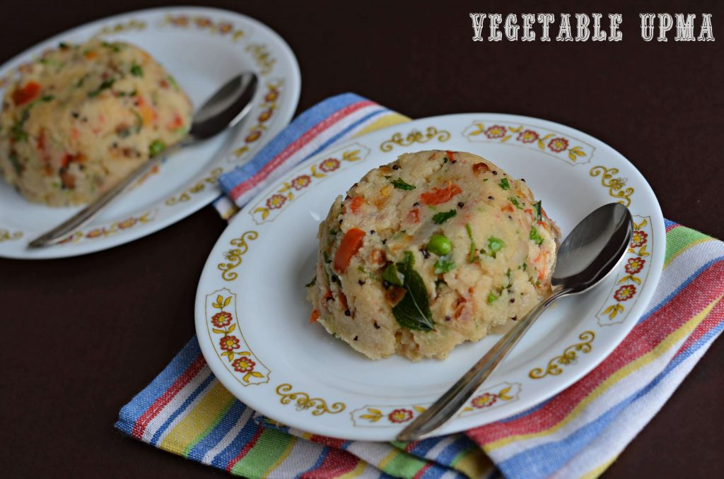 Vegetable upma is a traditional breakfast in south India, it is really a quick dish to prepare with many vegetables. It is made from sooji or rava or semolina also known as cream of wheat in English. Upma is served with green coconut chutney in south India but it taste great even without it.
