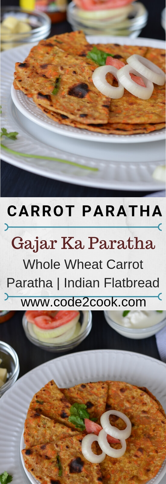 Gajar ka paratha or carrot paratha is a simple Indian flatbread which is healthy and delicious. Grated carrot mixed in whole wheat flour, flavored with cumin seed powder, chopped green chili, chopped green coriander, make a soft dough and roll out hot parathas. Makes a perfect breakfast or kids lunch box recipe.