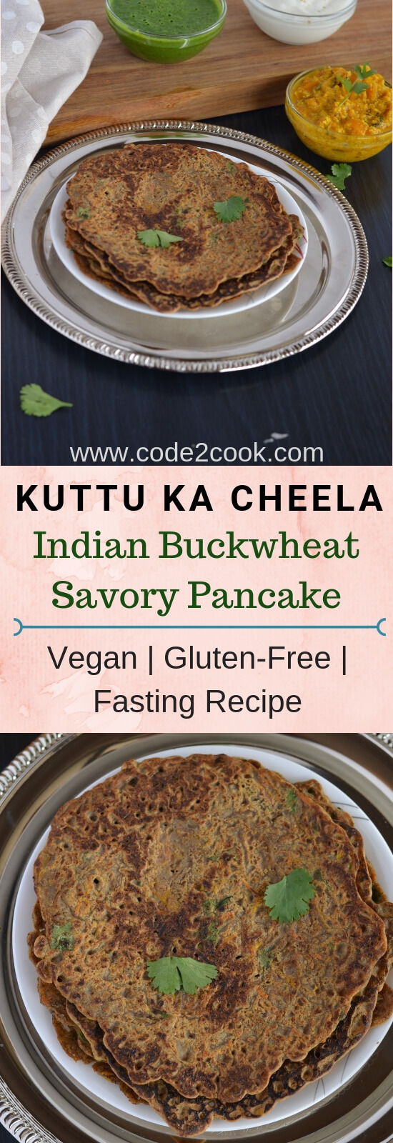 pinterest image for kuttu cheela or savory buckwheat crepe