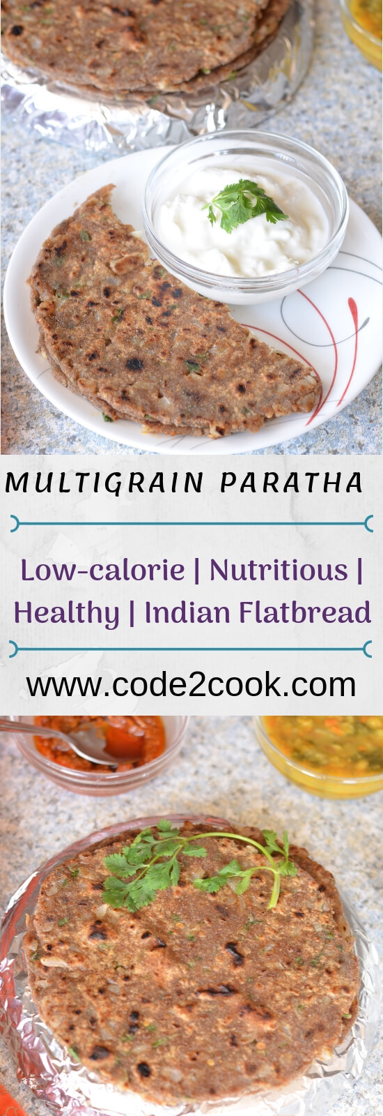 Multigrain paratha as the name says includes the different grains flour in equal quantity and then make rotior paratha.Multigrain paratha is low calories nutritious Indian flatbread with loads of nutrients depending on which flour combination you have.