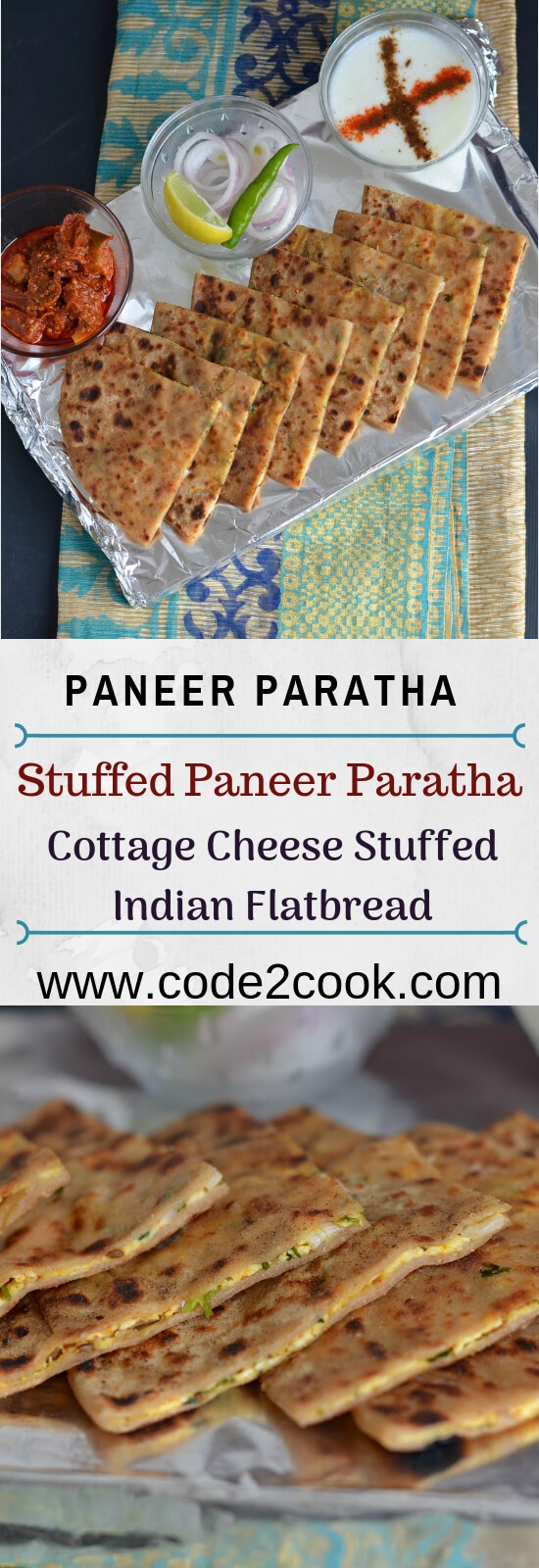 Paneer Paratha is very famous paratha and often served with curd or pickle mostly in every restaurant in India. This is an Indian flatbread which is stuffed with grated paneer or cottage cheese stuffing and seasoned with few spices. A great tiffin box recipe and can be eaten in any meal.