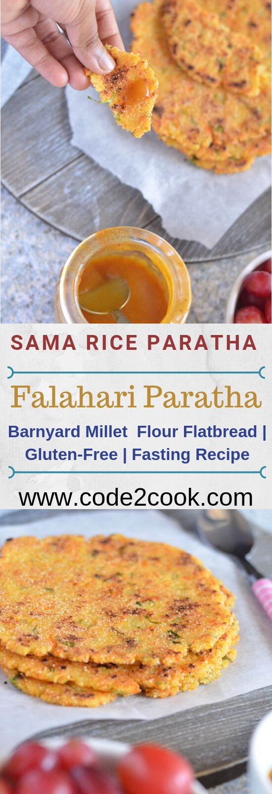Vrat ka paratha or sama rice paratha is easy and low calories fasting or upvas recipe. This is prepared on fasting days including Navratri, Ekadshi, Janamashtmi. Sama rice paratha is very nutritious, healthy, filling and gluten-free.