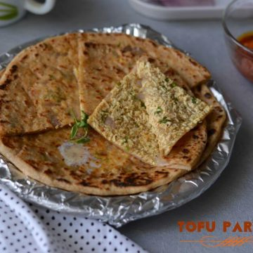 Tofu Paratha is another delicious paratha wherein scrambled tofu seasoned with coriander and few spices, stuffed in the whole wheat dough. Tofu paratha is high nutritional values. This paratha can be served in breakfast or snack, kids love these with curd.