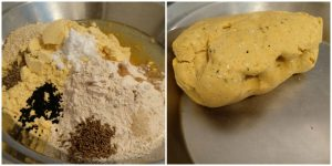 makki atta with spices and kneaded to make a dough.