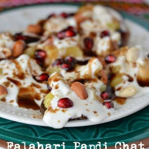 Vrat ki papdi chat is a crunchy and deep fried snack which is eaten during fasting or vrat. This is a vegan and gluten-free snack too.Vrat ki papdi chat is a tangy, savory snack with tamarind chutney, green chutney, and curd.