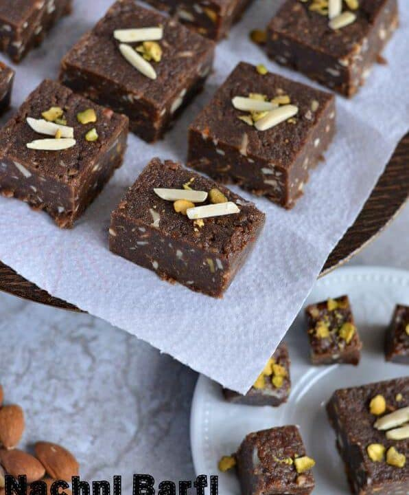 Nachni barfi or ragi barfi is a delicious Indian sweet made with nachni or ragi flour. It is soft and has fudge-like texture. Prepare this healthy finger millet flour sweet on this festive season (Diwali) and enjoy guilt-free sweet.