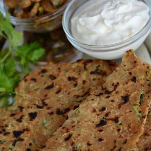 Zucchini Paratha is a flatbread with an Indian twist and a perfect breakfast or brunch recipe. Added some pickle and taste was great.