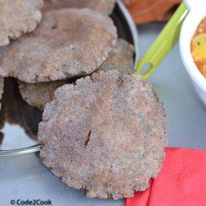 A close up shot of kuttu ki poori or buckwheat flour poori.
