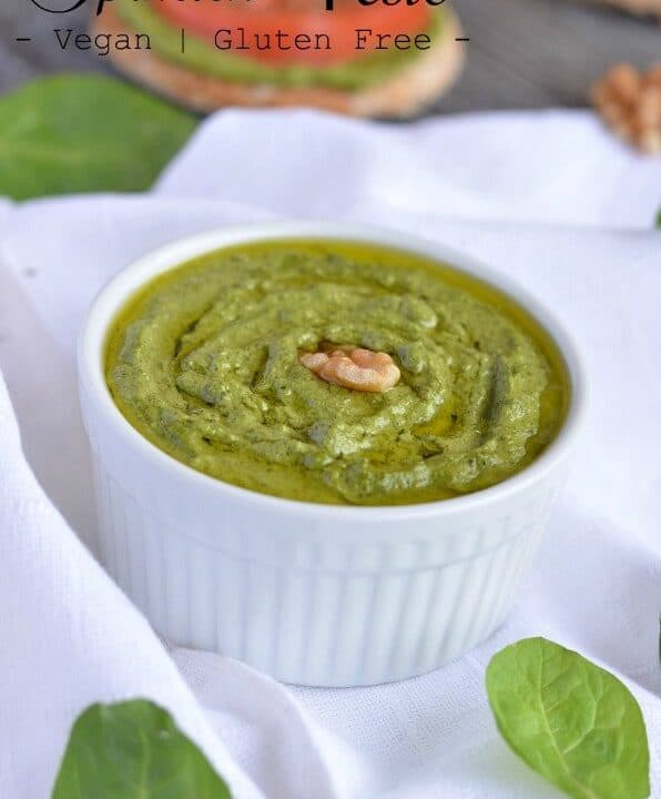 Homemade spinach pesto is easy to make, and packed with the goodness of spinach, olive oil,and walnut. This Italian pesto is vegan & Gluten-free. This Spinach Pesto is made without permesan cheese.