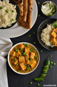 Vegan matar paneer is a vegan version of the most popular Indian matar paneer. Tofu is a perfect substitute for paneer to make a vegan version of matar paneer. Shallow fry tofu cubes and peas are cooked in mildly spiced tomato-cashew gravy to make this vegan matar paneer. Tofumatar masala is a delicious vegan curry.