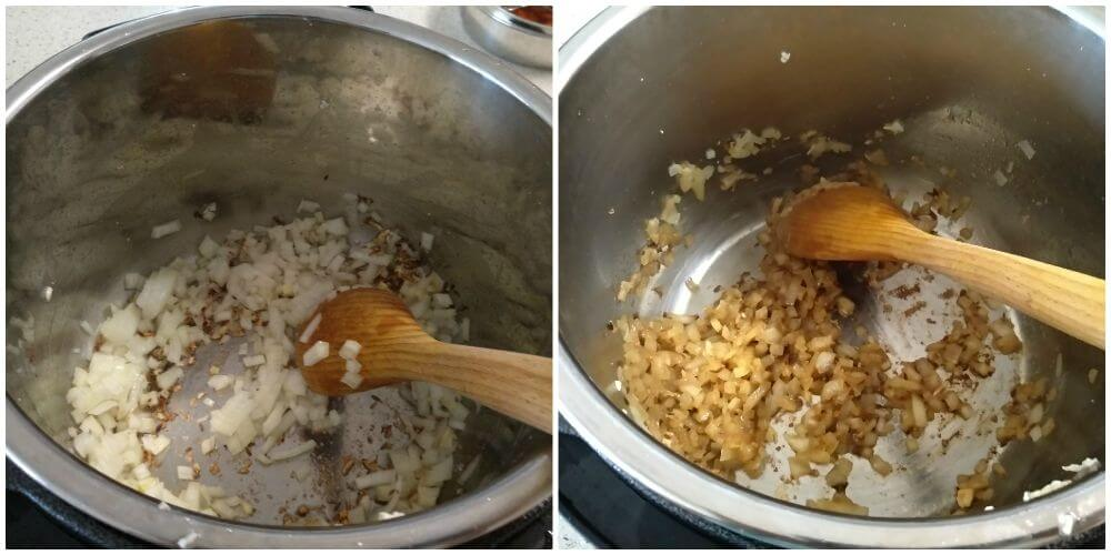 added chopped onion and cookedd until golden in color