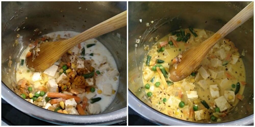 add coconut mil, turmeric powder, salt and mix well.