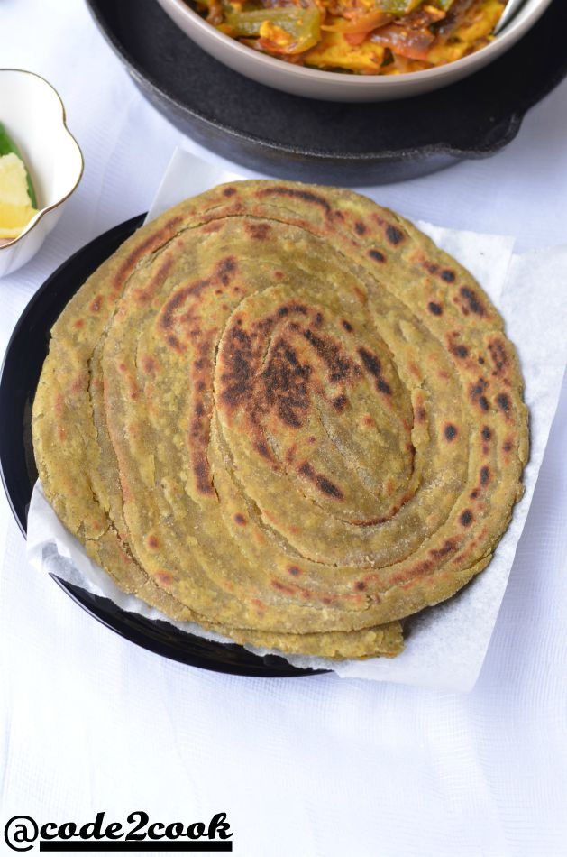 pudina laccha paratha clicked from top