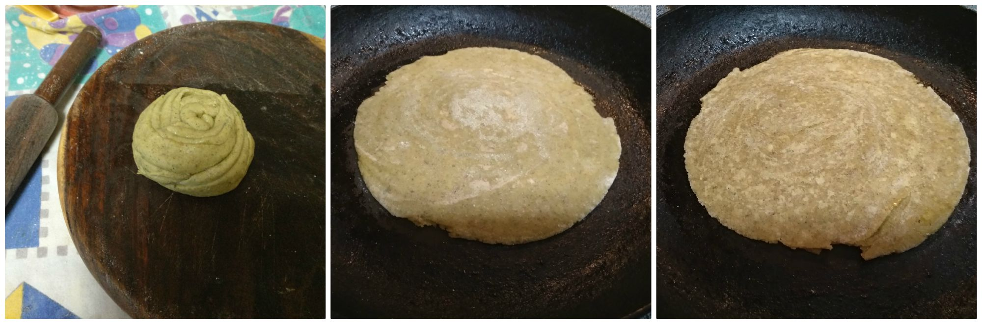 pudina laccha paratha is rolled out and ready to fry on both sides.