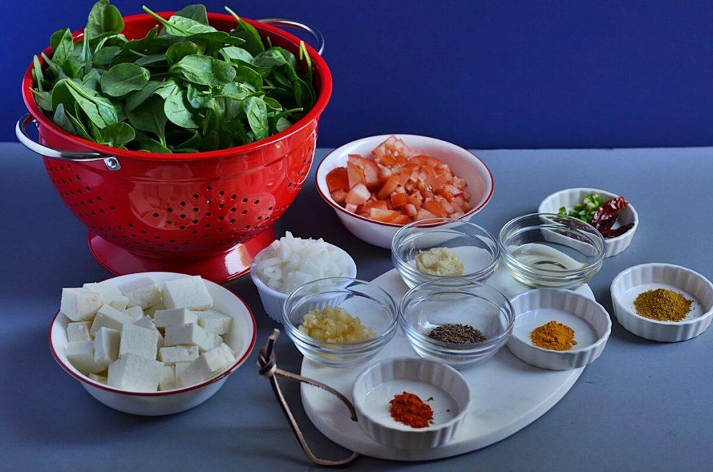 ingredients of palak paneer