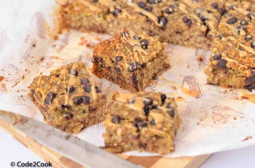 A close up shot of cut oatmeal breakfast bars