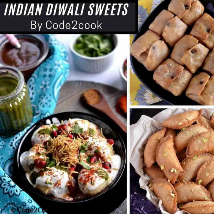 Collage image of traditional Indian sweets for this Diwali.