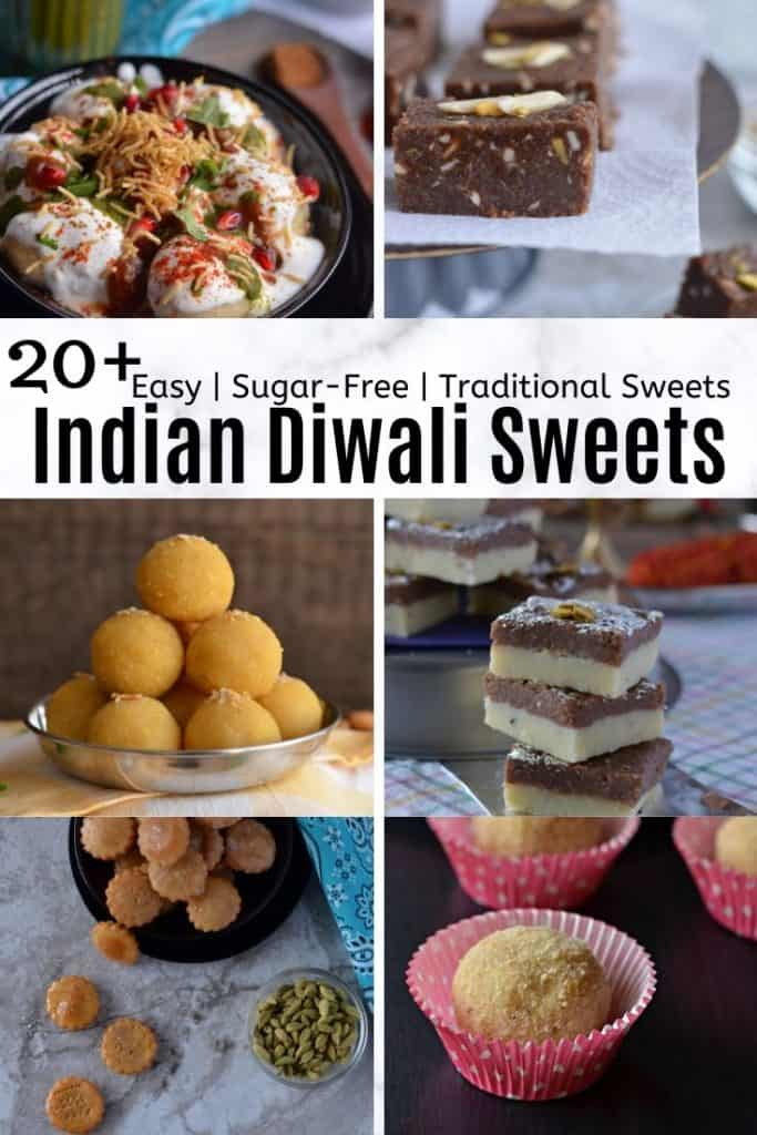 Collage of Indian Traditional Easy Diwali Sweets Recipes