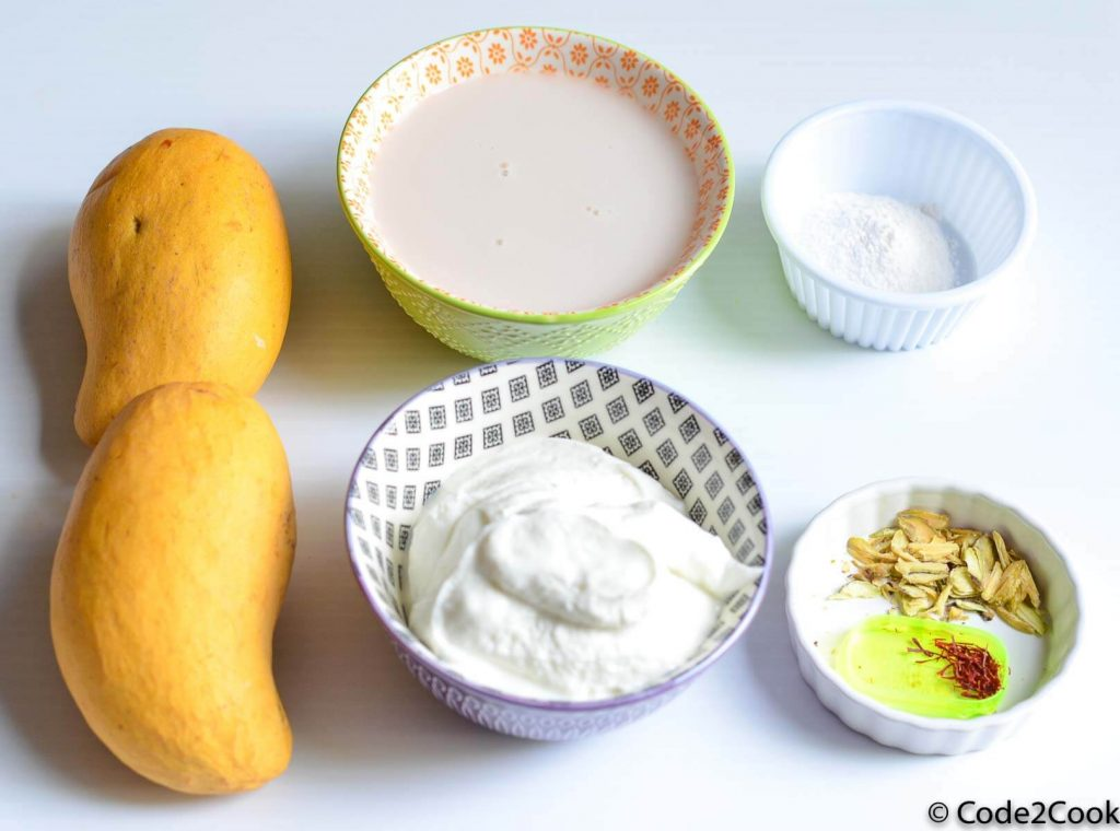 All ingredients used in mango lassi put together.