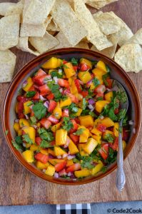 strawberry mango salsa served with tortilla strips.