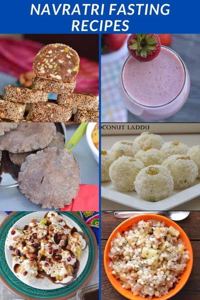 collage of all vrat ka khana recipes during Navratri Fasting Days.