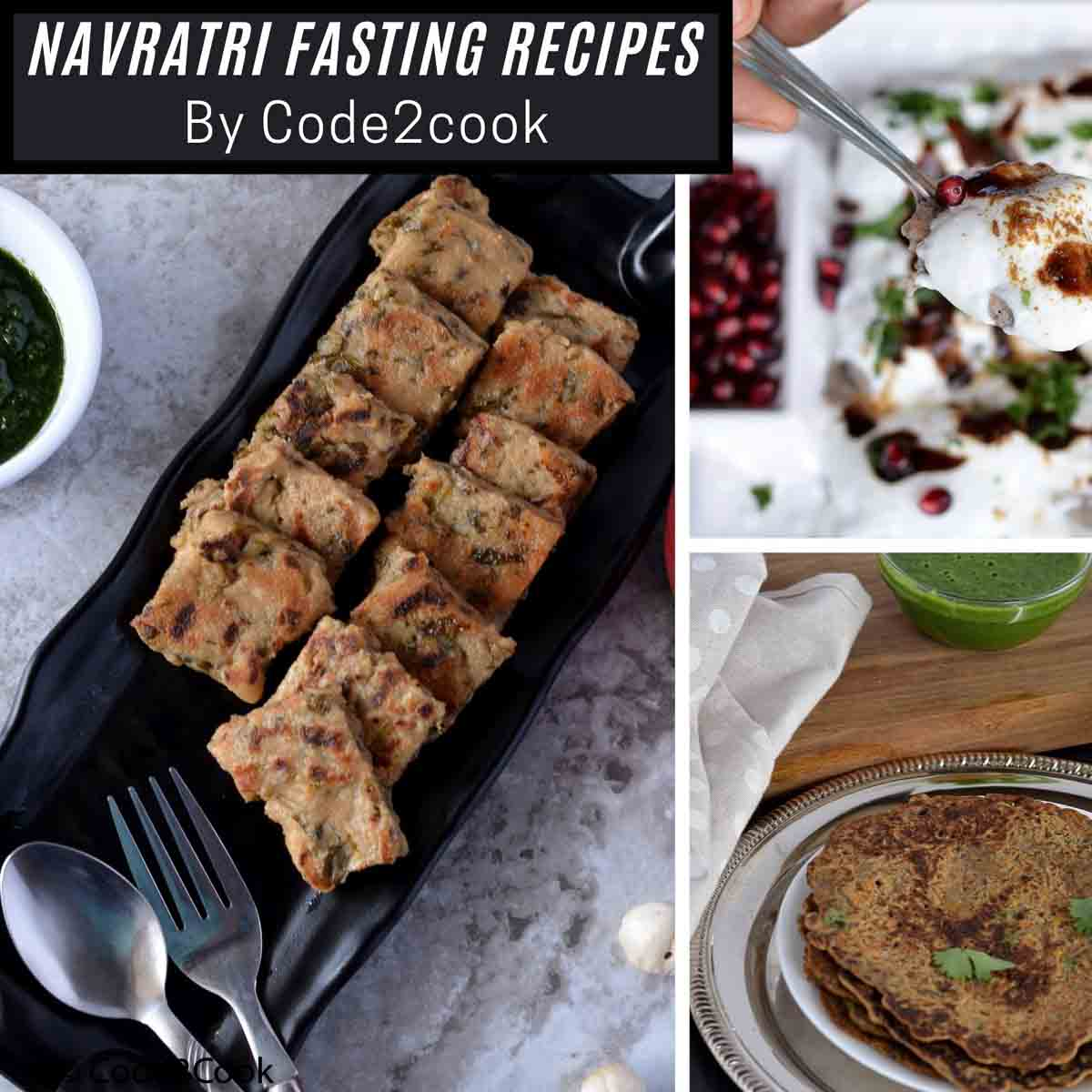 Collage of Navratri recipes (vrat ka khana)
