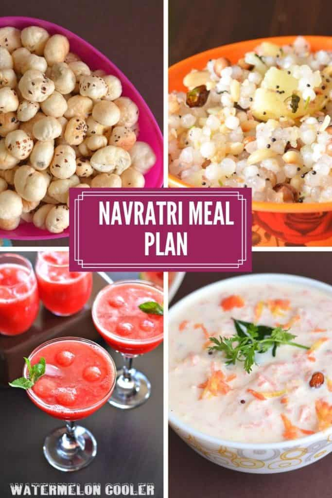 Collage of Navratri recipes for meal planning.