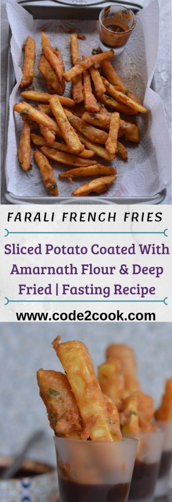 pinterest image of farali french fries recipe.