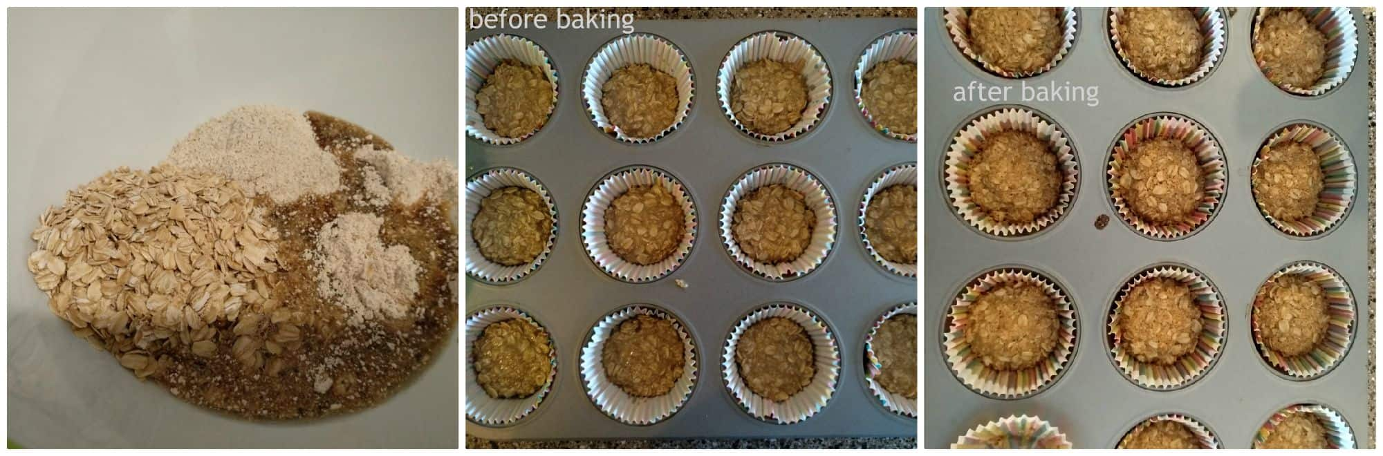 step by step preparation of oatmeal chocolate chip muffin cookies