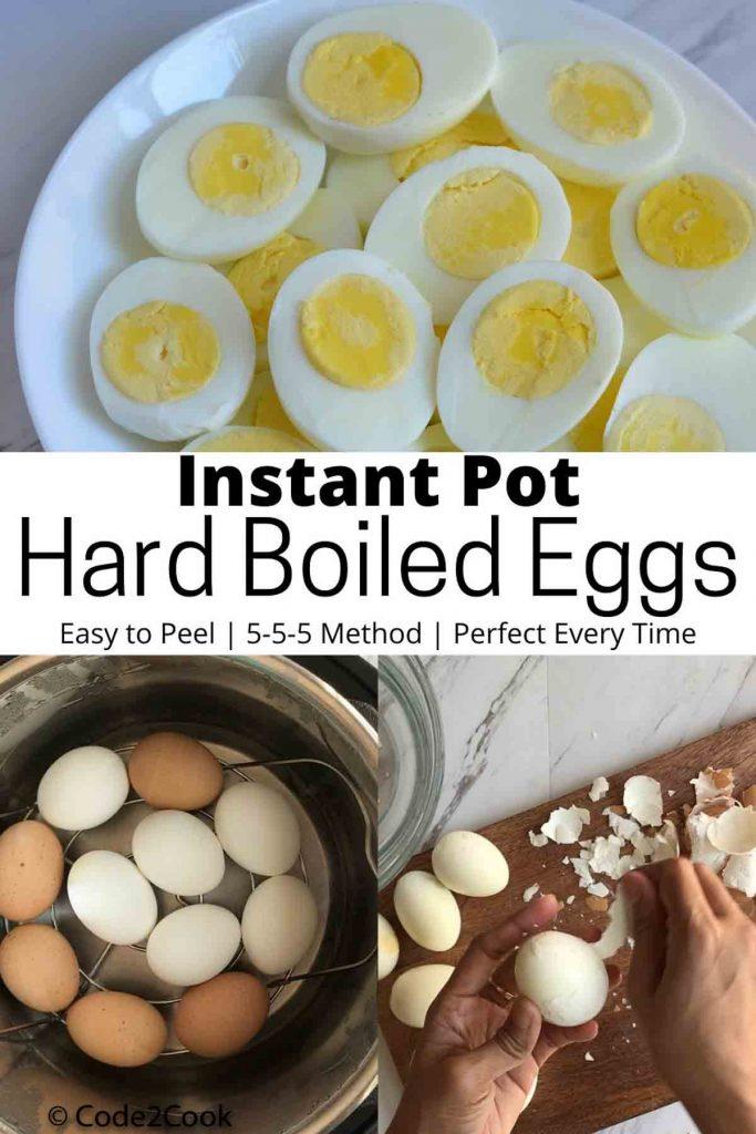 Pinterest image of hard boiled eggs in instant pot