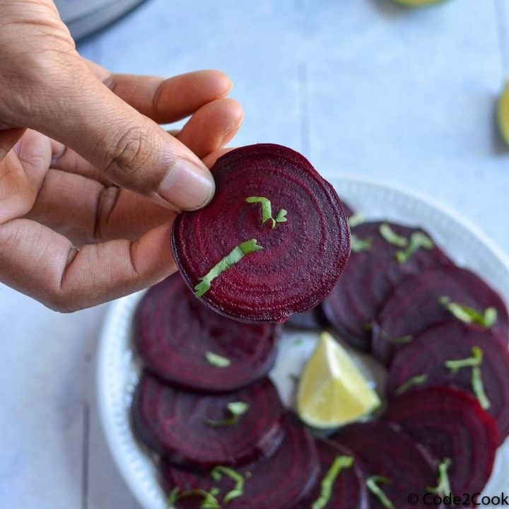 overhead shot of steamed beets slice.
