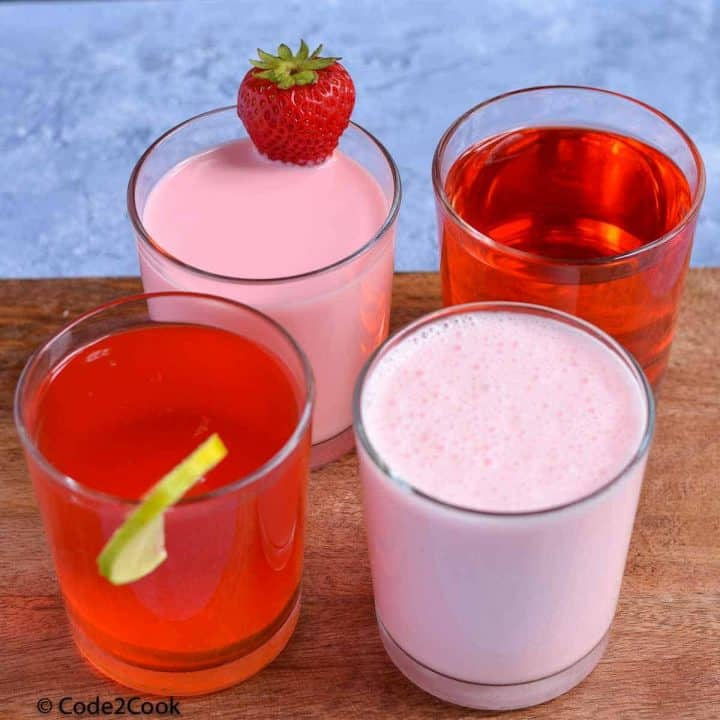 four types of rooh afza drink served in glasses.